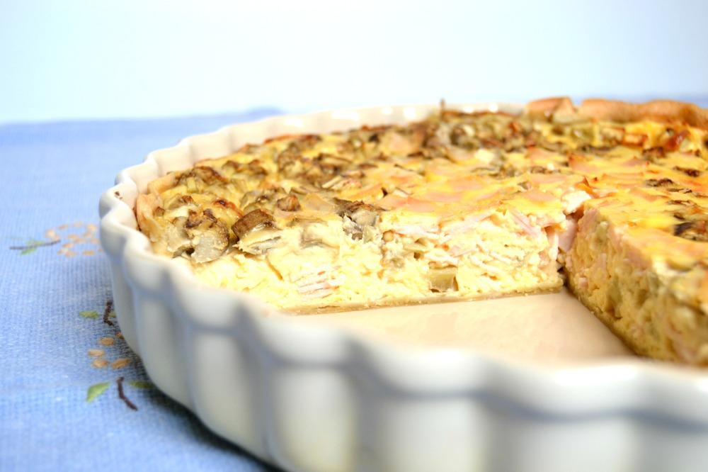 Quiche de berenjena, queso y pavo braseado