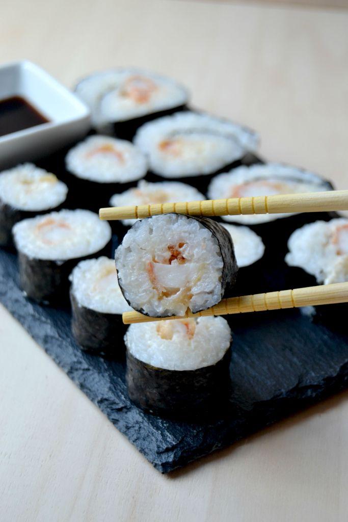 Maki de tempura de gambas